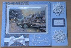 #JoannaSheen I love christmas, all the build up the atmosphere the excited kids, this card has been made from A3 card stock, the image is from the Joanna Sheen Thomas Kinkade triple cd rom, I have used my spellbinders snowflake dies and decorative swirl to make the embelleishments i used both white glitter card and velum for the snow flakes, I have used the Hunkydory snow fall acetate over the picture.