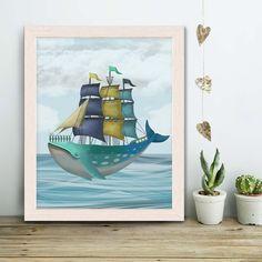 Whale art painting - Whale Ship Print - Whale print Whale wall art kids Whale nursery Ocean art painting Nautical decor Fisherman's gift