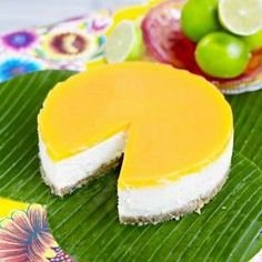 Mango och citron-cheesecake med Mangogelé Fika, Dessert Recipes, Desserts, Easy Cooking, Cheesecakes, Mango, Lemon, Gluten, Sweets
