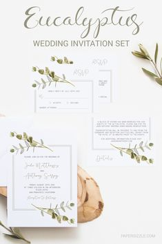 """Give the perfect first statement of your big day to your loved ones with this rustic chic wedding invitation suite. The beautiful green leaves and stylish frame give the invitation set a modern yet romantic look. This complete editable set includes a wedding invitation (5"""" x 7""""), two versions of an Rsvp card (3.5"""" x 5"""") and a Details card (3.5"""" x 5""""). Simply download, edit, print and trim! Try it out with our FREE wedding invitation template: bit.ly/papersizzle-sample-invite. Free Wedding Invitation Templates, Wedding Invitation Suite, Invitation Set, Wedding Stationery, Chic Wedding, Dream Wedding, Handmade Wedding Decorations, Diy Wedding On A Budget, Diy Wedding Backdrop"""