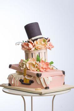 Luggage Cake, Suitcase Cake, Unique Cakes, Creative Cakes, Birthday Cake For Mom, 90th Birthday, Happy Birthday, Hat Box Cake, Camo Wedding Cakes