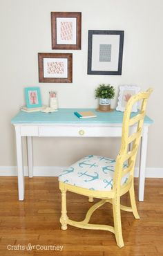 A coastal desk makeover with Provence and Pure White Chalk Paint® decorative paint by Annie Sloan | By Crafts by Courtney