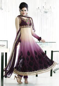 Shaded Purple and Beige Faux Georgette Churidar Kameez Online Shopping: KHA43