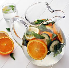 This fruit infused water recipe is perfect for hot days, combining the cool refreshing quality of mint with the tropical flavor of oranges. Try it out!