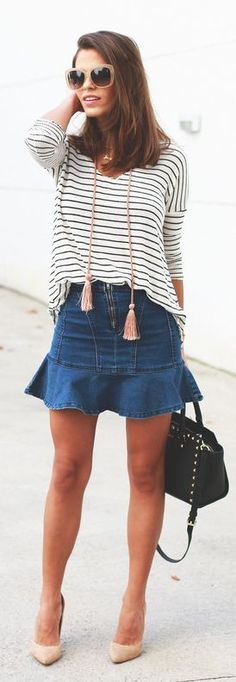 Stripes And Denim Outfit by Seams For a Desire