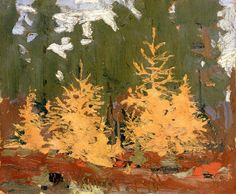 Tom Thomson - Tamarack, 1915 - Oil on Wood x cm Emily Carr, Contemporary Landscape, Abstract Landscape, Landscape Paintings, Abstract Art, Creative Landscape, Group Of Seven Paintings, Paintings I Love, Tree Paintings