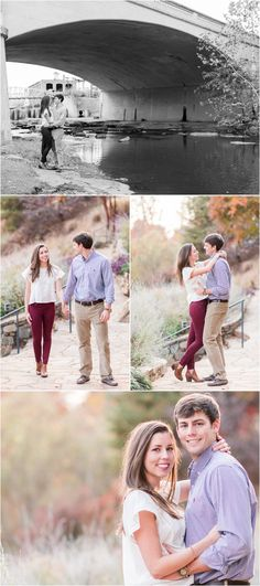 Fall Downtown Greenville South Carolina Engagement Session in Falls Park