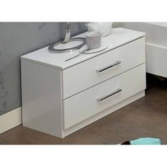 Noční stolek se zásuvkami v alpské bílé barvě typ 697 KN809 Filing Cabinet, Nightstand, Storage, Table, Furniture, Home Decor, Purse Storage, Bedside Desk, Binder