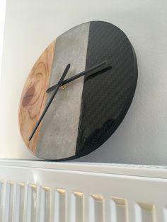 Wood-Concrete-Carbon Clock  Holz-Beton-Carbon Uhr Wood Concrete, Clock, Home Decor, Timber Wood, Watch, Decoration Home, Room Decor, Clocks, Home Interior Design