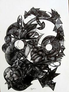 '' ELEMANTI DINAMICI ''  disegno    a penna ,  di LORENZO ANTOGNETTI