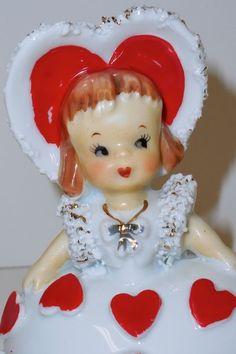 VINTAGE LEFTON VALENTINE GIRL BELL FIGURINE ~ Porcelain with Spaghetti Trim