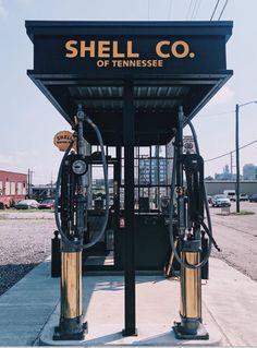 antique 1915 shell gas station at marathon village nashville tennessee. Marathon Motors, Marathon Photo, Shell Gas Station, Motor Works, Nashville Tennessee, Shells, Garage, Antique, Board