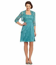 I really like the color and feel of this one.  Adrianna Papell Sheer Lace Jacket Dress #Dillards
