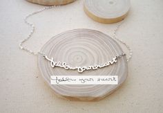 SALE Memorial Signature Necklace - Personalized Handwriting - Keepsake Jewelry in Sterling Silver - Christmas Gift - MOTHER GIFT by CaitlynMinimalist on Etsy https://www.etsy.com/listing/211312440/sale-memorial-signature-necklace