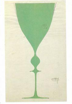 I've just put this postcard, showing a green goblet (c. by Austrian designer Josef Hoffmann, into the mail for a friend. The design it. Joseph Hoffman, Blue Rider, Koloman Moser, Vienna Secession, Bohemian Art, Mail Art, Art Object, Little Red, Textile Design