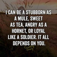 I can be a stubborn as a mule, sweet as tea, angry as a hornet, or loyal like a soldier. It all depends on you. All Quotes, Great Quotes, Motivational Quotes, Funny Quotes, Life Quotes, Inspirational Quotes, Family Quotes, Happy Quotes, Country Girl Life