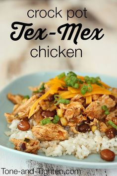 Healthy Crockpot Tex-Mex Chicken Recipe from Tone-and-Tighten.com. #recipe #dinner #slowcooker
