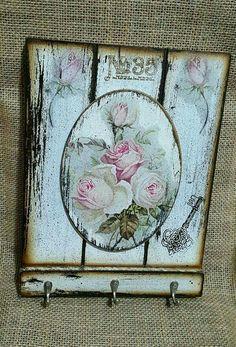 59 Ideas For Vintage Canvas Art Ideas Rustikalen Shabby Chic, Shabby Chic Bedrooms, Shabby Chic Homes, Chabby Chic, Decoupage Wood, Decoupage Vintage, Wood Crafts, Diy And Crafts, Decor Crafts
