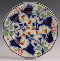 TWELVE-SIDED GAUDY DUTCH PLATE WITH STRAWBERRIES