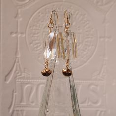 Clear and gold earrings