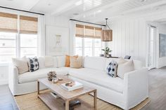 White Slipcovered Sectional with Blue and Orange Pillows - Cottage - Living Room Beach Living Room, Cottage Living Rooms, Living Room Photos, Coastal Living Rooms, White Sectional, Sectional Slipcover, Living Room Sectional, Slipcovers, Cool Ideas