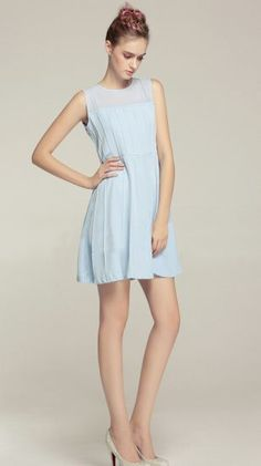 Light Blue Round Neck Sleeveless Ruched Short Dress