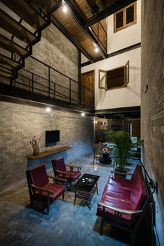 Monastery Zen House made up by natural and rustic material palette of unrefined brick, bare wood, unpainted cemboard, and ferrous iron - CAANdesign Zen House Design, Interior Architecture, Interior Design, Storey Homes, House Made, Bali, Brick, Vietnam, Decoration