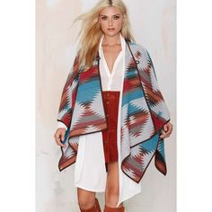Cape It Coming Toggle Poncho ($55) ❤ liked on Polyvore featuring outerwear, poncho, multi, cape coat, poncho cape coat, aztec poncho, poncho cape and toggle cape