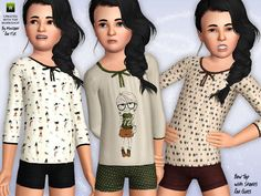 The Sims Resource - TSR Bow Top with Shorts by minicart - Sims 3 Downloads CC Caboodle