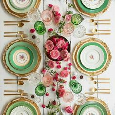 My idea of a Spring Tablescape - Florentine Chargers in White/Gold + The Green Botanicals Vintage China + Gold Collection Flatware + Vintage Pink/Green Goblets + Champagne Coupes + Antique Crystal Salt Cellars [Casa de Perrin] Beautiful Table Settings, Centerpieces, Table Decorations, Table Set Up, Vintage China, Vintage Green, Place Settings, Event Decor, Wedding Table