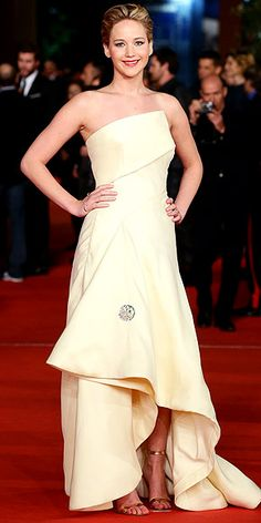 143677947b99 Jennifer Lawrence in off-white Dior architectural gown with high low hem at   Hunger