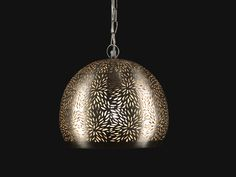 Pierced Metal Hanging Lamp With Floral Design