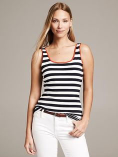 Like the colored piping for a unique touch to the striped top || Piped Striped Timeless Tank Product Image Banana Republic $34.50
