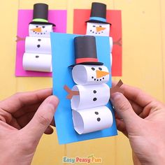 christmas activities for kids crafts Paper Snowman Craft fr Kinder - Bastelideen Kinder - - Kids Crafts, Winter Crafts For Kids, Crafts For Kids To Make, Preschool Crafts, Easy Crafts, Craft Projects, Craft Kids, Paper Craft For Kids, Kids Holiday Crafts