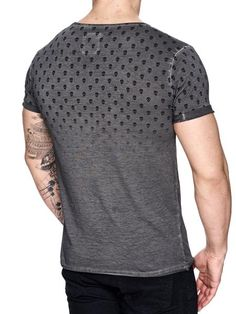 K&D Men Top Skulls Dyed T-shirt - Dark Gray - FASH STOP