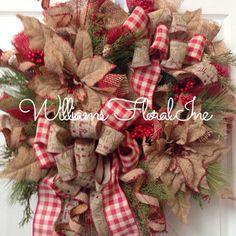 Rustic Wreath, Country Wreath, Burlap, Christmas Mesh Wreath, Christmas Wreath
