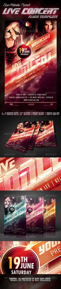Live Concert Flyer Template — Photoshop PSD #poster #stylish • Available here → https://graphicriver.net/item/live-concert-flyer-template/5455621?ref=pxcr