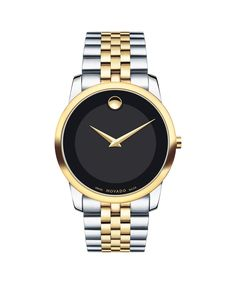 From Movado, this men's two-tone museum classic watch with black dial and diamond markers brings a distinguished look to any outfit.Men's Movado Museum Classic mm stainless steel and yellow gold PVD-finished caseRound black dial with yellow gold t Movado Mens Watches, Men's Watches, Luxury Watches, Diamond Watches, Gold Watches, Nice Watches, Cheap Watches, Elegant Watches, Breitling Watches