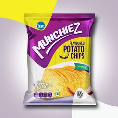 """I developed and designed Munchiez Logo and packaging from a rough scratch. I tried to make it more youthful and attractive. Vibrant colors and shapes made them charming look and feel. Different primary colors were used for each variant of potato chips. Packaging Snack, Food Packaging Design, Packaging Design Inspiration, Branding Design, Food Poster Design, Food Design, Types Of Packaging, Photoshop, New Flavour"