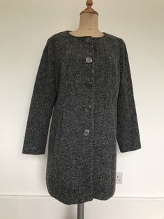 Ex M/&S Large Check Pink Grey Fluffy Woolly Style Coat Size 8 10 12 14 16 18