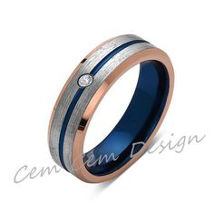 6mm,Diamond,Brushed Rose Gold,Gray and Blue,Tungsten Ring,Matching ,Mens Wedding Band,Blue Ring,Comfort Fit