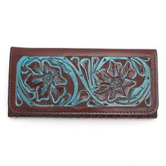 Chocolate and Turqoise Tooled Leather Wallet at Maverick Western Wear