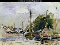Boats at Dock - Camille Pissarro - www.camille-pissarro.org
