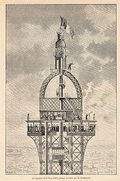 EIFFEL TOWER TOP  SOMMET DE LA TOUR EIFFEL  PARIS EXPOSITION UNIVERSELLE  IMAGE 1889