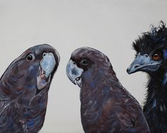 """Eric, there's something not quite right with the new guy"""" by Julie Hollis. Paintings for Sale. Quirky Art, Weird Art, Canvas Board, Australian Artists, Acrylic Painting Canvas, Paintings For Sale, Online Art Gallery, Pet Birds, Original Art"""