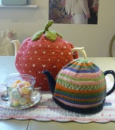 Strawberry and Striped tea cozies