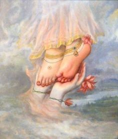 Radharanis Lotusfeet. My only shelter is Sri Radhika's lotus feet which I yearn to worship with love and devotion. These lotus feet of Srimati Radhika are painted by Krsna's soft fingers with a feather dipped in the most fragrant red-colored juice. The gopis follow Krsna's example and worship the same feet for the happiness of all living entities. These feet are glorified in the Upanisads, and are found in the depth of the hearts of pure devotees.