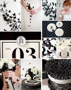 black and white wedding inspiration with butterfly