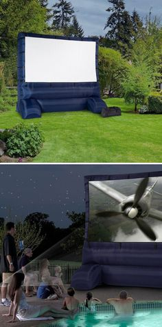 Best idea ever for backyard fun: outdoor movie night! The screen self-inflates in minutes to create a full-size, widescreen movie screen. Project movies, TV shows, presentations onto the screen for the family, neighborhood block party, youth group...