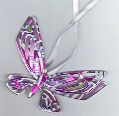 Very Detailed Butterfly - Magnet or Christmas Ornament - Recycled soda can.